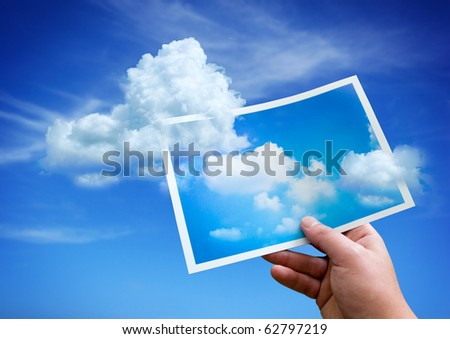 Clouds rising up from a picture.