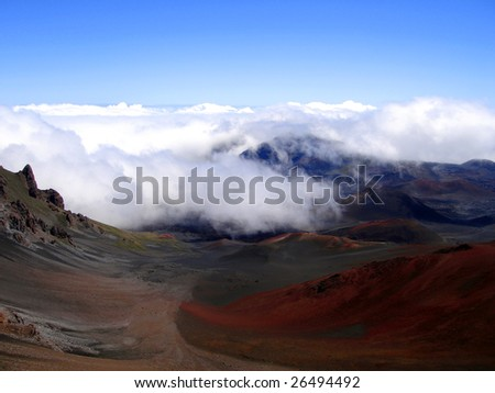 Clouds rolling into Haleakala Crater, Maui, Hawaii