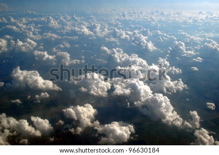 Clouds seen from above the European sky.