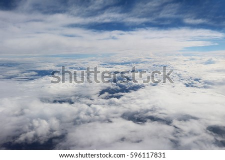 clouds seen from airplane beautiful blue sky background nature amazing  #596117831