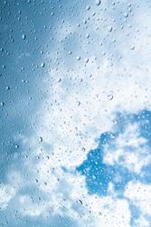 Clouds seen through raindrop window
