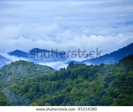 clouds settling over great smoky mountains