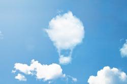 Clouds shape like hot air balloon.