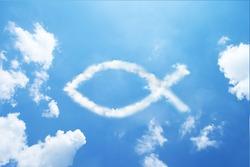 Clouds shaped like a christian symbol fish.