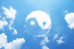 Clouds shaped yin-yang sign.