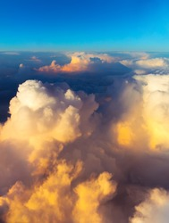 Clouds. sky with clouds at sunset or sunrise. sunset with a height of 10 000 km. Top view.