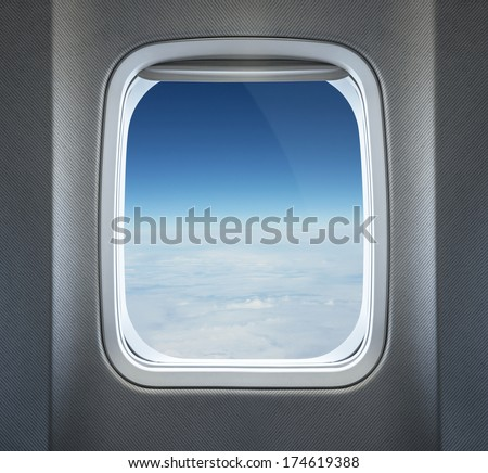 Clouds through the airplane window