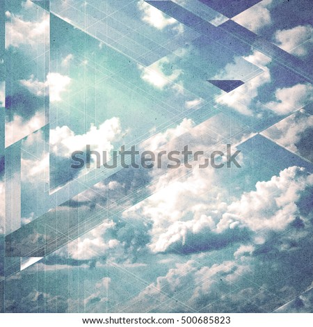 Clouds triangulation background. Geometry design. Paper textured