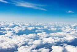 clouds. view from the window of an airplane flying in the clouds