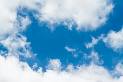 Clouds white on bright bluesky background and copy space