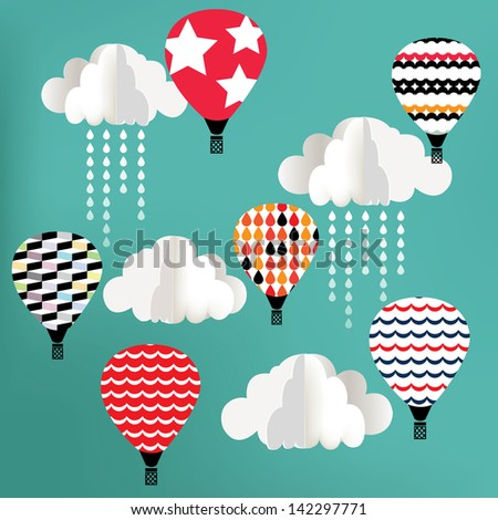 Clouds with hot air balloon on blue background - stock photo