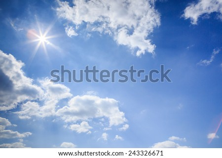 clouds with sun in the blue sky