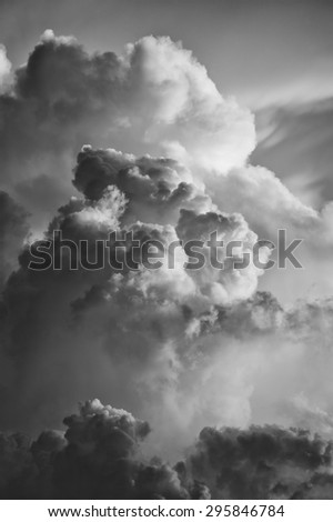 cloudscape at sunset with dramatic cloud in black and white