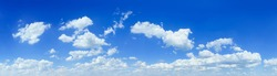 Cloudscape - Blue clear sky and white clouds, wide panorama