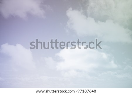 Cloudscape or purple, blue and green