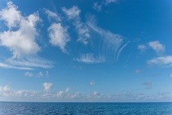 Cloudscape Over the Blue Southern Mediterranean Sea Coast