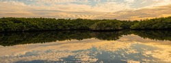 Cloudscape reflecting on the Loxahatchee River in the evening light in the Jonathan Dickinson Florida State Park.
