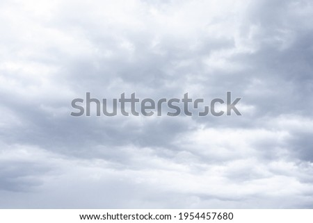 Cloudscape scenery, overcast weather above dark blue sky. Storm clouds floating in rainy day, abstract of natural atmosphere. White and grey scenic environment background. Nature scenic.