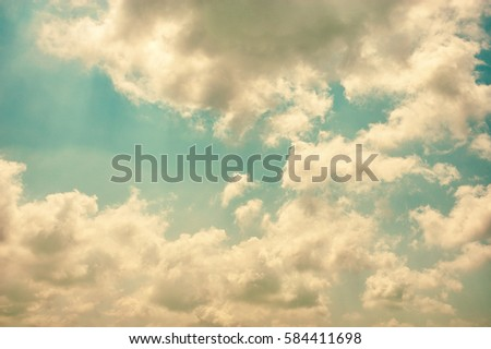 cloudy and blue sky, vintage tone