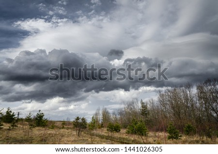 Cloudy and windy weather early in the spring