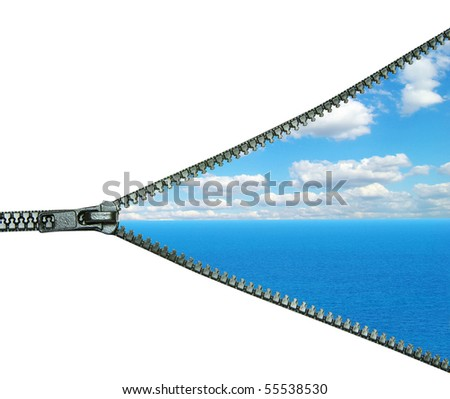 cloudy blue sky above a surface of the sea - stock photo