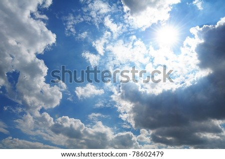 cloudy blue sky in summer with clouds can be used as background