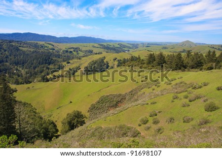 Cloudy blue sky over green hills of Marin County, California