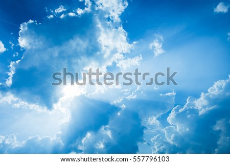 Cloudy Blue Sky, perfect for backgrounds, texts, etc #557796103