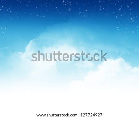 Cloudy blue sky with stars abstract background