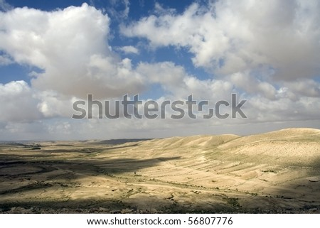 cloudy day in the desert Negev - stock photo