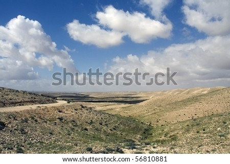 cloudy day in the desert Negev