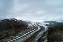 Cloudy glacier canyon natural scenery