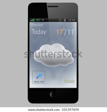 cloudy icon on a screen of smart phone