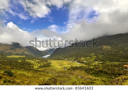 Cloudy landscape in Ecuadorian highlands of Andes mountains