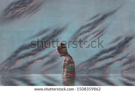 Cloudy lonely man in water with black cloudy sky, depression, loneliness, emotion, failure, hopeless, imagination, fantasy painting, surreal illustration Сток-фото ©