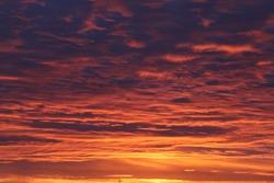Cloudy midnight sunset orange fiery sky