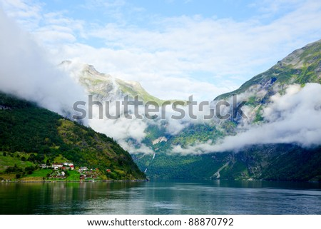 Cloudy morning in Geirangerfjord, Norway (listed as a UNESCO World Heritage Site)