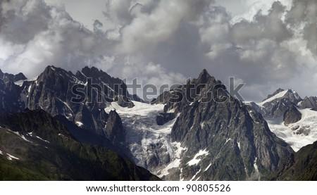 Cloudy Mountains. Caucasus Mountains. Georgia, Svaneti