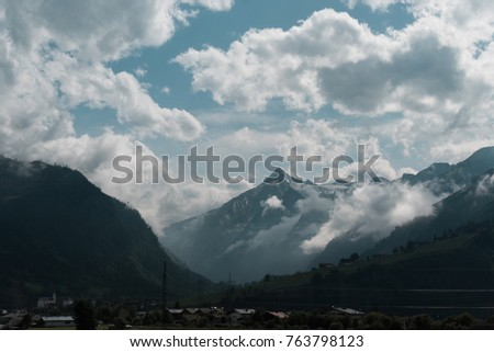 Cloudy mountains in Austria. #763798123