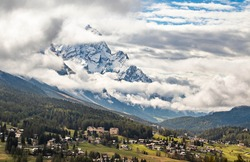 Cloudy mystic mountains above Cortina D'Ampezzo, Italy