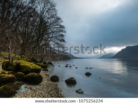 Cloudy, overcast morning at Ullswater. English Lake District.