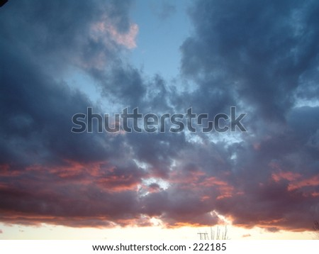 Cloudy Red Sunset