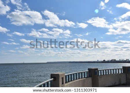 Cloudy sky above the water