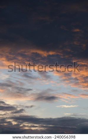 Cloudy sky after storm at sunset in Paris