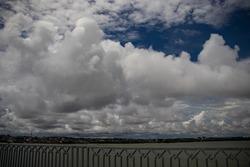 cloudy sky in the Dompak bridge area, Tanjung Pinang, Riau Islands, Indonesia