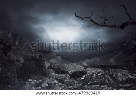 Cloudy sky on the rock mountain background, you can put your design on here #479969419