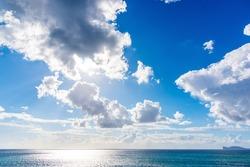 Cloudy sky over Alghero shoreline. Sardinia, Italy
