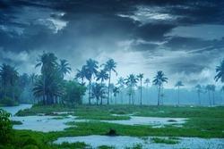 Cloudy sky over beautiful flood plain landscape, River landscape, Beautiful summer landscape with cloudy sky, Flood plain of beautiful river. Nature Beautiful Scenery Kerala India