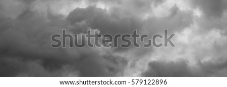 Cloudy sky. Panorama thunderclouds over horizon, cloudscape, storm.