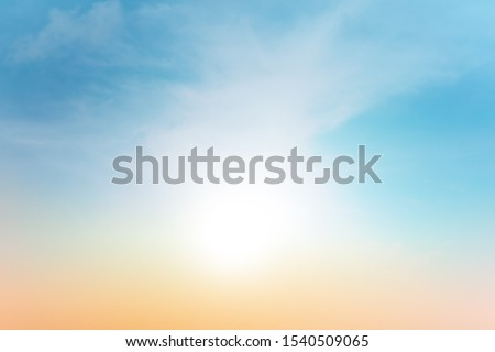 Cloudy sky with pastel gradient color, Natural landscape, Background of colorful sky concept, nature abstract background